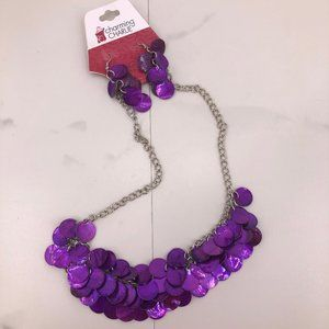 NWT Charming Charlie purple necklace earring set